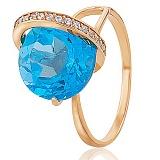 Золотое кольцо Модерн с голубым топазом и фианитами