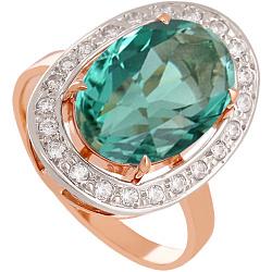 Золотое кольцо Корделия с синтезированным аметистом и фианитами