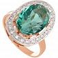 Золотое кольцо Корделия с синтезированным аметистом и фианитами 000030785