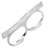 Двойное серебряное кольцо Гламур