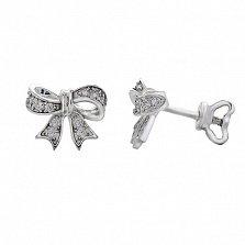 Серебряные серьги-пуссеты с фианитами Бантик