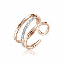 Серебряное кольцо Сфера с позолотой и фианитами