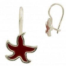 Серебряные серьги Морская звезда с красной эмалью