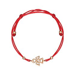 Браслет из красного золота с шелковой нитью 000062707