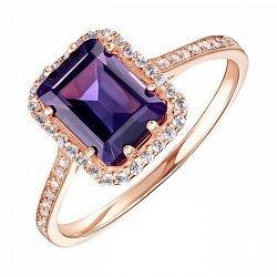 Кольцо из красного золота с аметистом и фианитами 000136278