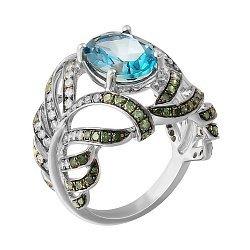 Золотое кольцо в белом цвете с топазом и бриллиантами 000118979