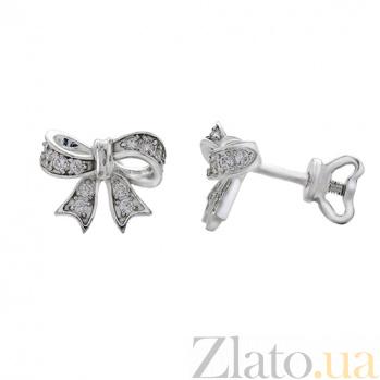 Серебряные серьги-пуссеты с фианитами Бантик AUR--72418бau