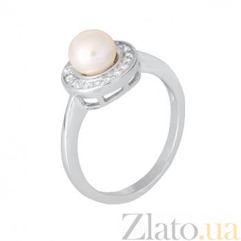 Серебряное кольцо с жемчугом и фианитами Феодосия 000028314
