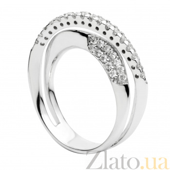 Золотое кольцо Амадина в белом цвете с шинкой инкрустированной бриллиантами 000030485