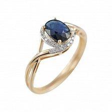 Золотое кольцо с сапфиром и бриллиантами Морской этюд