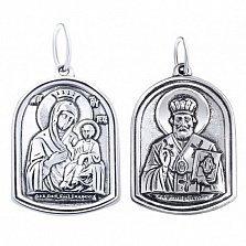 Серебряная ладанка Святое семейство с чернением