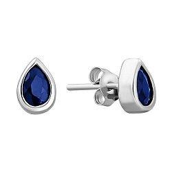 Серебряные серьги-пуссеты с сапфирами 000132496