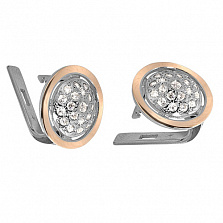 Серебряные серьги с золотой вставкой и фианитами Метеорит