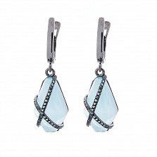 Серебряные серьги-подвески Аделия с голубыми улекситами и фианитами