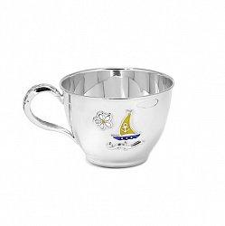 Серебряная чашка Кораблик с эмалью 000043512