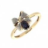 Кольцо из красного золота с сапфиром и бриллиантами Грета