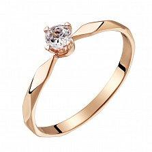 Помолвочное кольцо из красного золота с бриллиантом Моя принцесса 0,09ct