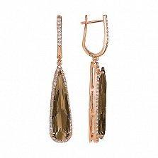 Золотые серьги-подвески Галадриэль с раухтопазом и фианитами