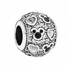 Серебряный шарм Влюбленный Микки с черными и белыми фианитами в стиле Пандора