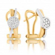Золотые серьги Ноэль в комбинированном цвете с завальцованными бриллиантами