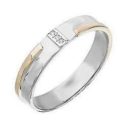 Обручальное кольцо в белом золоте Донна с фианитами 000054863
