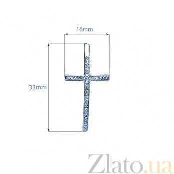 Серебряные серьги с фианитами Крест 000027165