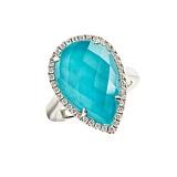 Золотое кольцо с дуплетом горного хрусталя и бирюзы с бриллиантами Морская дева