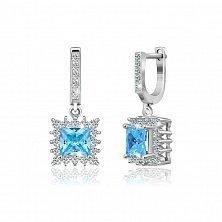Серебряные серьги с голубыми фианитами Анхелика