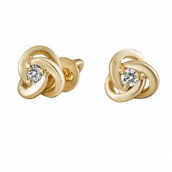 Серьги из желтого золота Нежный цветок с бриллиантами