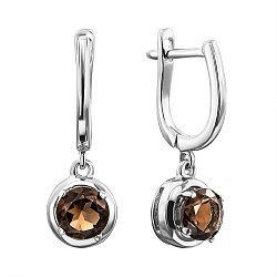Серебряные серьги-подвески с раухтопазами 000137257