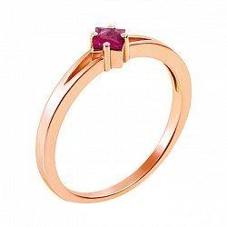 Золотое кольцо в красном золоте с рубином 000117345