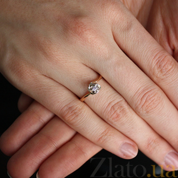 Золотое кольцо с бриллиантом Дивный цветок VLA--15060