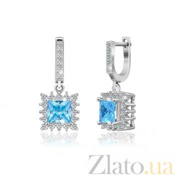 Серебряные серьги с голубыми фианитами Анхелика SLX--СК2ФТ/431