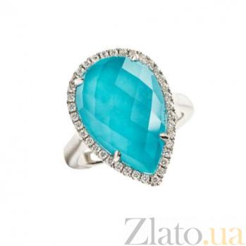 Золотое кольцо с дуплетом горного хрусталя и бирюзы с бриллиантами Морская дева 1К869-0157