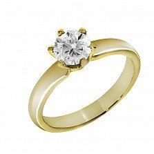 Кольцо из желтого золота Романс с бриллиантом
