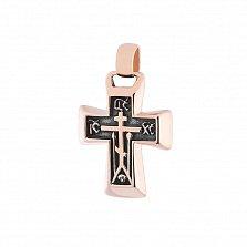 Золотой крестик с чернением Спаси и сохрани