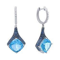 Золотые серьги в комбинированном цвете с голубыми топазами, бриллиантами и сапфирами 000139405