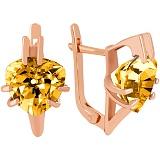 Золотые серьги с цитрином Леона