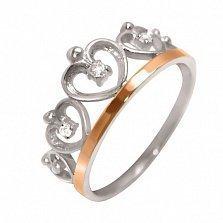 Серебряное кольцо Карамия с цирконием и золотой вставкой