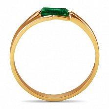 Золотое кольцо Шенон с синтезированным изумрудом