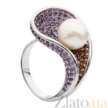 Серебряное кольцо с жемчугом и фианитами Эвридика 000029924