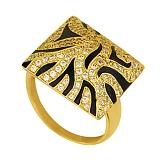 Кольцо из желтого золота Сафари с фианитами