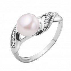 Серебряное кольцо с жемчугом и белыми фианитами 000118266