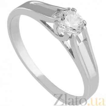 Кольцо из белого золота с фианитом Трогательное признание 000027243