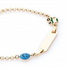 Золотой браслет для гравировки Смайлик с разноцветной эмалью