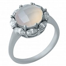 Серебряное кольцо Элоиза с розовым кварцем и фианитами