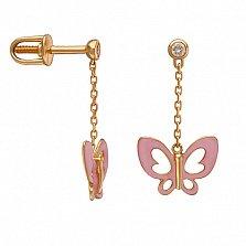 Серьги- подвески в красном золоте Розовые бабочки с эмалью и фианитами