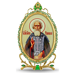 Серебряная икона с позолотой и зелеными фианитами Сергий Радонежский 000004145