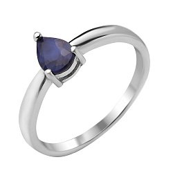 Серебряное кольцо Клодия с сапфиром