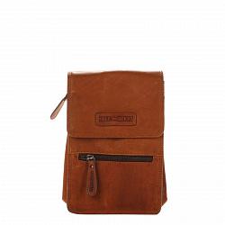 Кожаная мужская сумка HILL BURRY 2632 коричневого цвета с клапаном и карманом на молнии